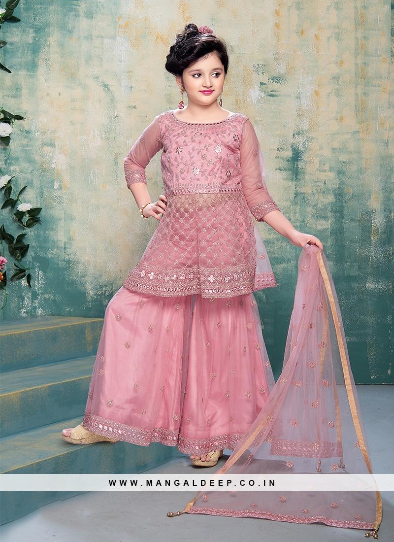 Pink Color Net Gharar For Little Girl