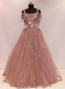 Pink Color Net Indian Reception Gown