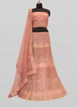 Pink Color Net Lehenga For Girls