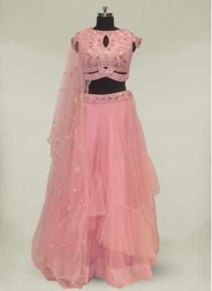 Pink Color Net Mirror Work Designer Lehenga