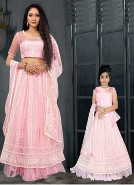Pink Color Net Mother Daughter Lehenga