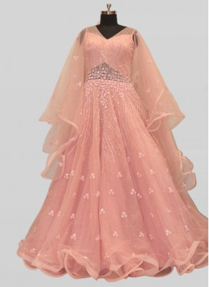 Pink Color Net Party Wear Gown