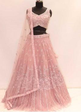 Pink Color Net Resham Work Lehenga
