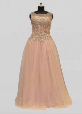 Pink Color Net Sequins Work New Design Gown