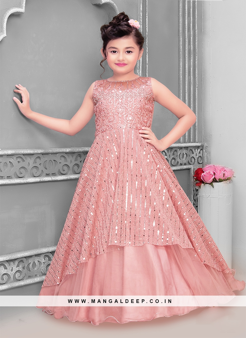 Pink Color Net Stone Work Little Girl Gown