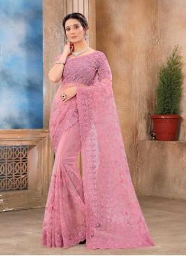 Pink Color Net Stylish Saree