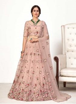 Pink Color Net Wedding Wear Lehenga