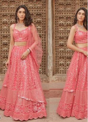 Pink Color Organza Enagagement Wear Lehenga