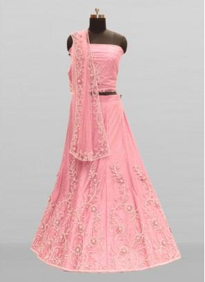 Pink Color Pearl Work Net Chaniya Choli