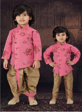 Pink Color Raw Silk Boys Wear