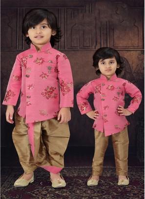 Pink Color Raw Silk Boys Wear
