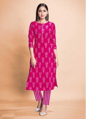 Pink Color Rayon Kurti Pant