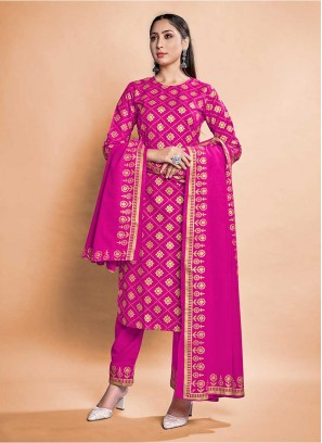 Pink Color Rayon Readymade Suit