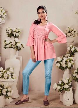 Pink Color Rayon Tunic Top