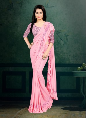 Pink Color Ready To Wear Saree