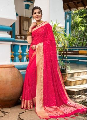 Pink Color Resham Silk Casual Saree