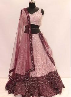 Pink Color Resham Work Dazzling Lehenga