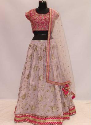 Pink Color Resham Work Lehenga Choli