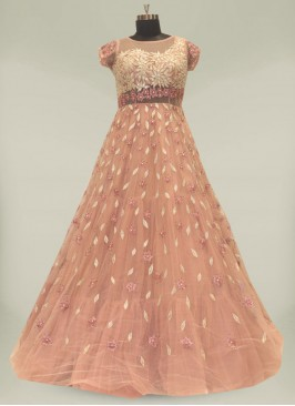 Pink Color Resham Work Party Wear Gown