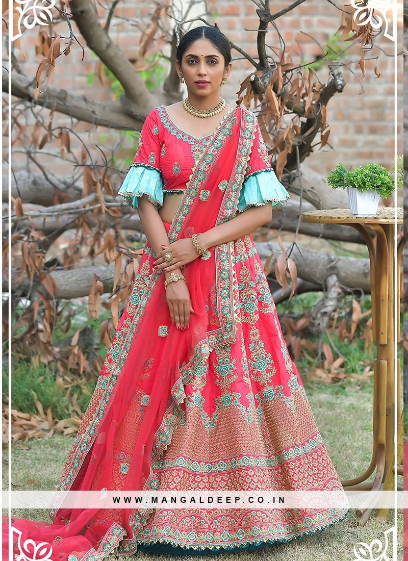 Pink Color Resham Work Sangit Wear Lehenga