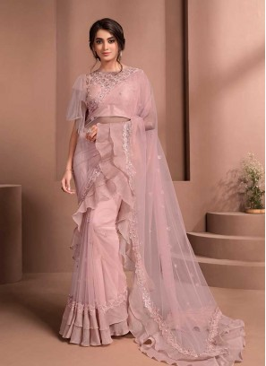Pink Color Ruffle Saree With Blouse