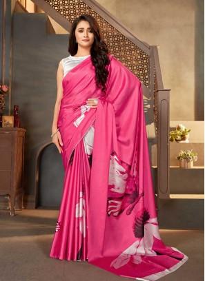 Pink Color Satin Printed Saree