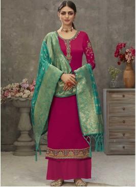 Pink Color Satin Salwar Suit