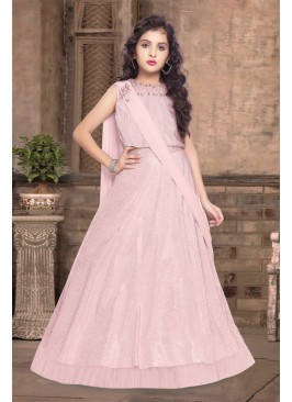Pink Color Satin Silk Lehenga For Kids