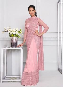 Pink Color Sequins Work Saree