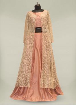 Pink Color Sequins Work Silk Gown For Girls