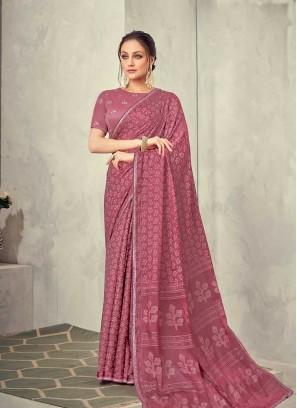 Pink Color Seuqins Work Silk Saree