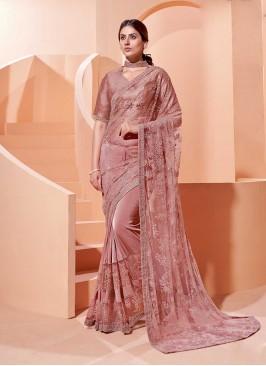Pink Color Silk And Net Saree