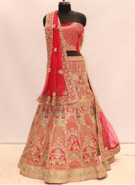 Pink Color Silk Bride Chaniya Choli