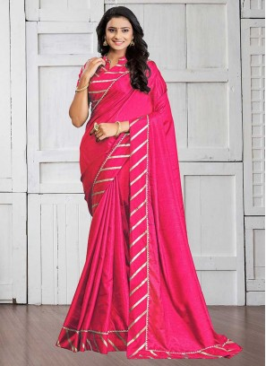 Pink Color Silk Cotton Lace Border Saree