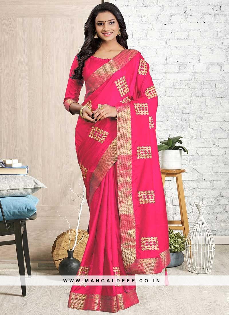 Pink Color Silk Cotton Saree For Ladies