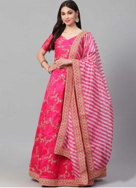 Pink Color Silk Embroidered Party Wear Lehenga