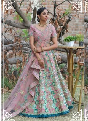 Pink Color Silk Enaggement Wear Lehenga
