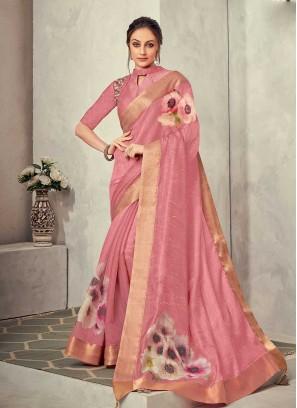 Pink Color Silk Flower Print Saree