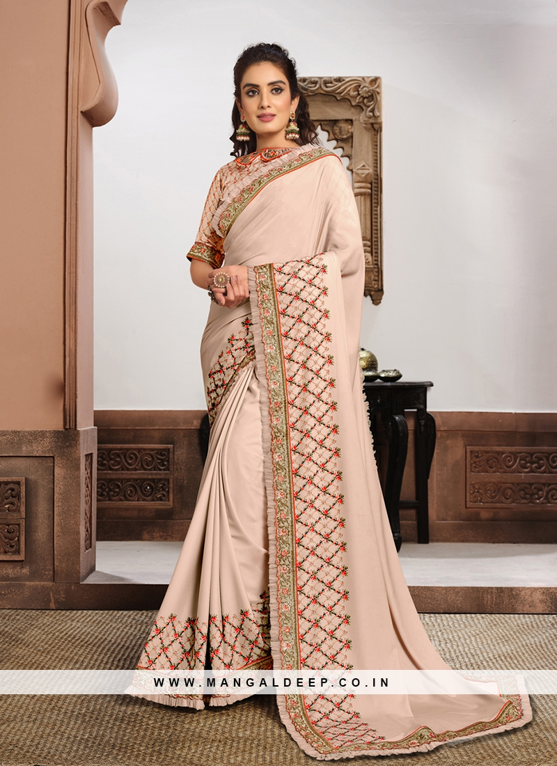 Pink Color Silk Georgette Beautiful Saree