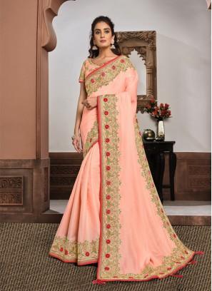 Pink Color Silk Georgette Latest Saree