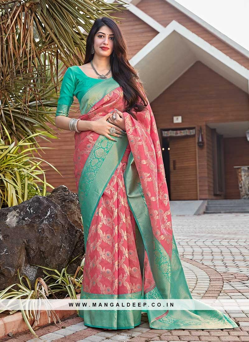 Pink Color Silk Ladies Wear Saree