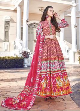 Pink Color Silk Patola Print Anarkali Dress