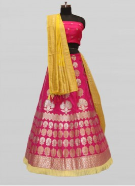 Pink Color Silk Pattu Lehenga For Wedding