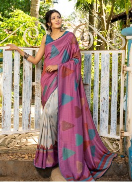 Pink Color Silk Saree For Woman