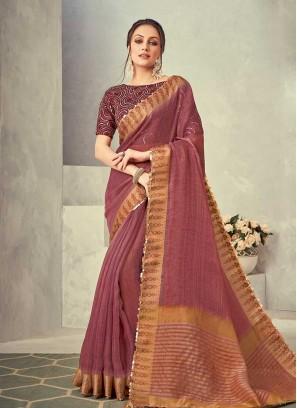 Pink Color Silk Sequins Work Saree