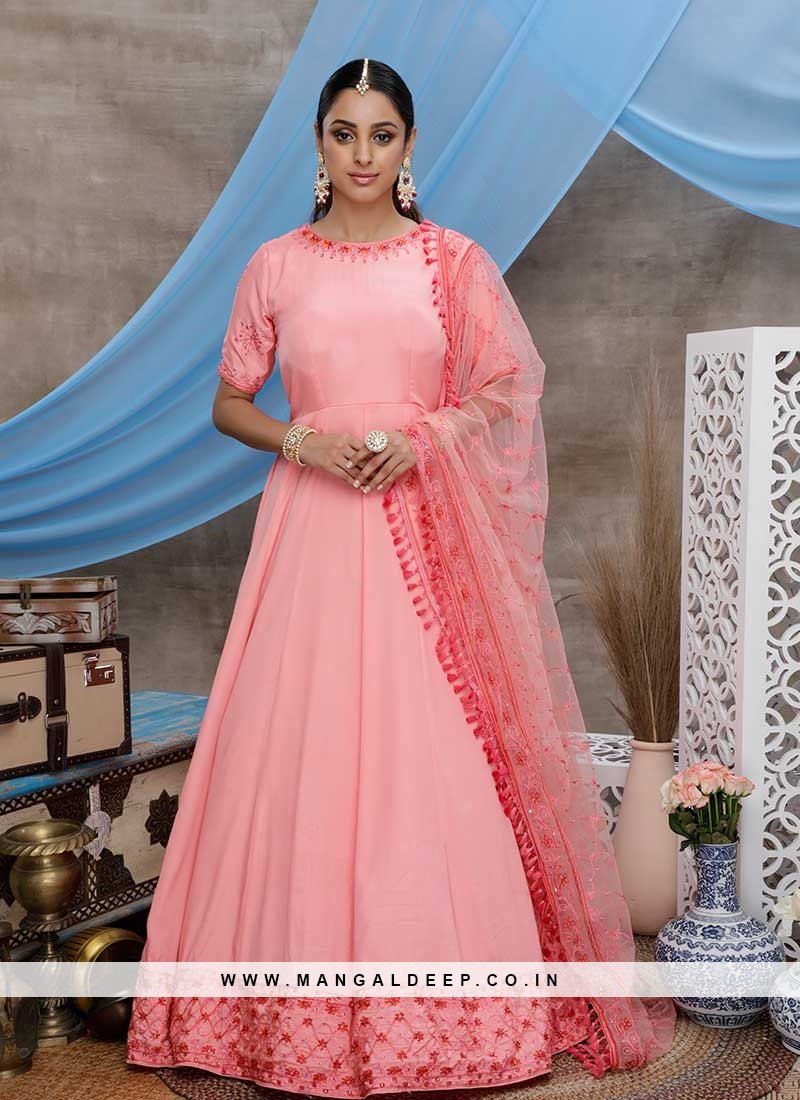 PINK COLOR SILK STONE WORK GOWN