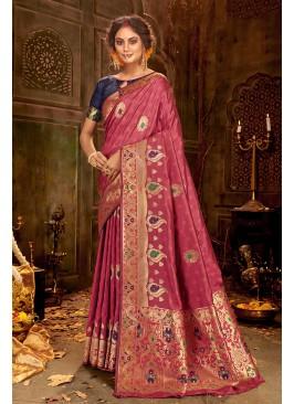 Pink Color Silk Wedding Sarees