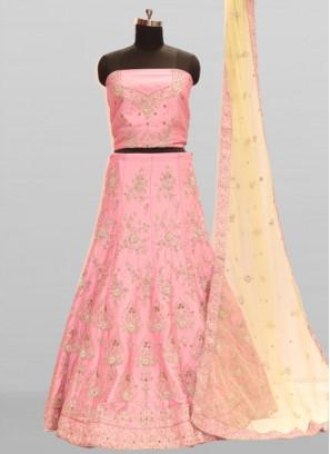 Pink Color Silk Zardosi Work Designer Lehenga
