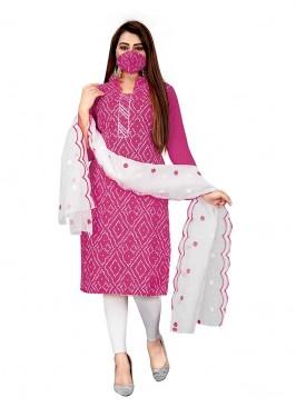 Pink Color Slub Cotton Bandhni Salwar Suit