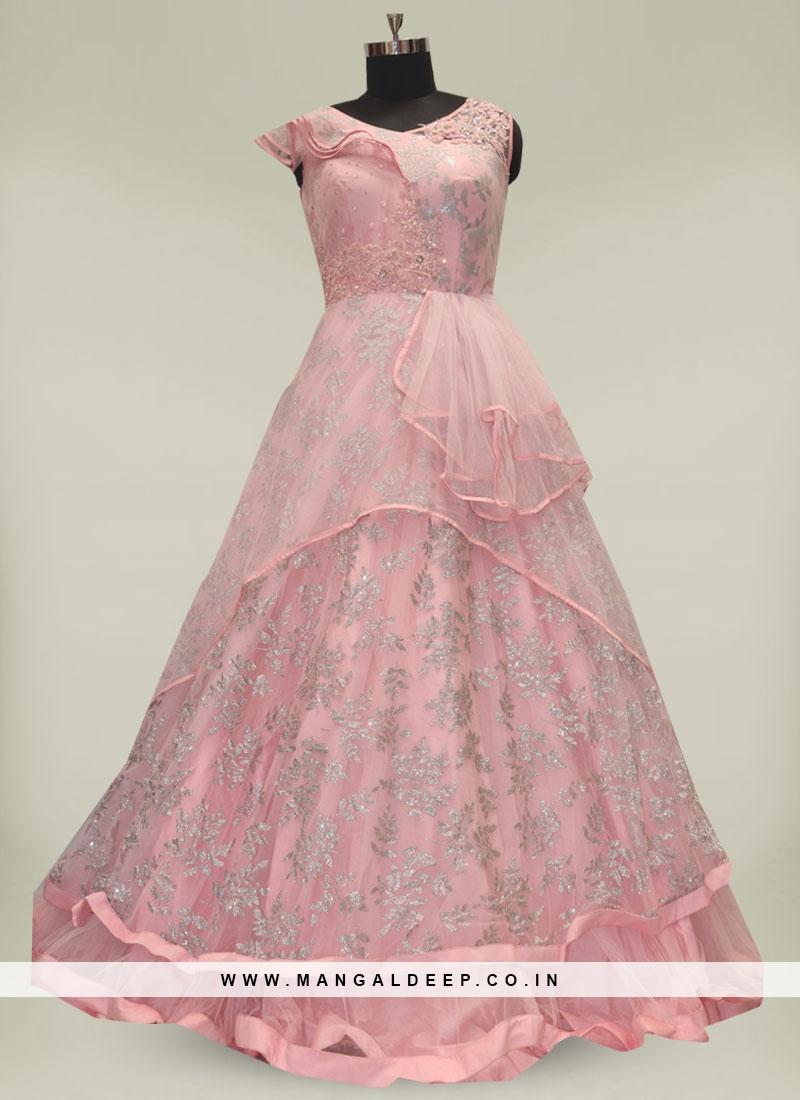 Pink Color Sparkal Work Net Long Gown